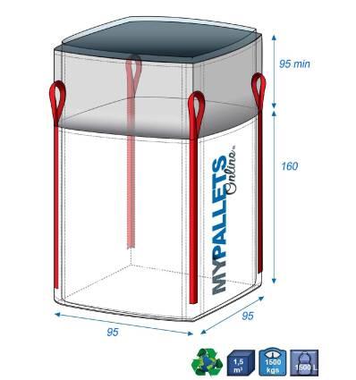 Big Bag Feste Chemieprodukte mit Inliner 70µ 95X95X160 1500 kg