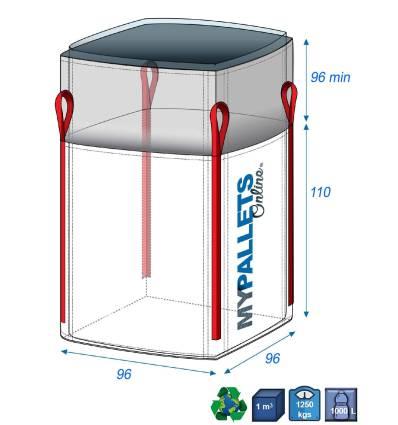 Bulk Bag & internal lining 70 microns 96X96X110 1250 kg