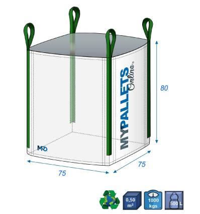Big Bag déchets verts 75X75X80-1000kg Ouverture Totale et Fond Plat Fermé