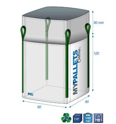 Big Bag Vide 1m3 1 tonne 90X90X120-1000kg Jupe Remplissage Tout déchets