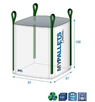 Big Bag für Müll 900 Liter 91X91X106 1500 kg