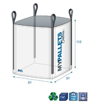 Big Bag Filtrant 91X91X115 1500kg Jupe Remplissage Toile Sultzer