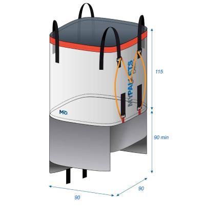 Big Bag Réutilisable Jupe de vidange 90X90X115 1500 kg