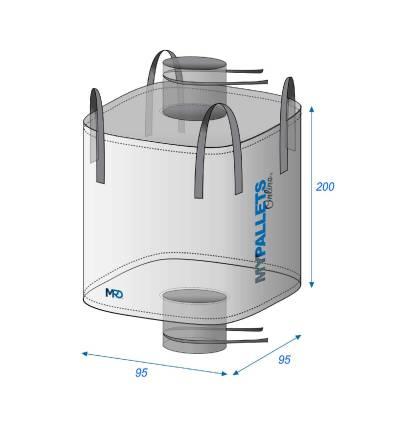 Bulk Bag empty Discharging spout 95X95X200 1250 kg