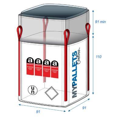 Big Bag Asbest mit eingenähtem Inliner 91X91X110 1000 kg