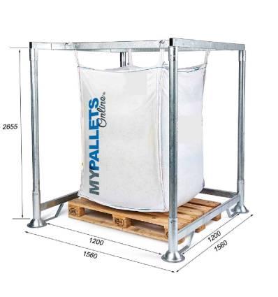 Soporte Big Bag con Acceso para palet Dimensiones 1560X1560X2500