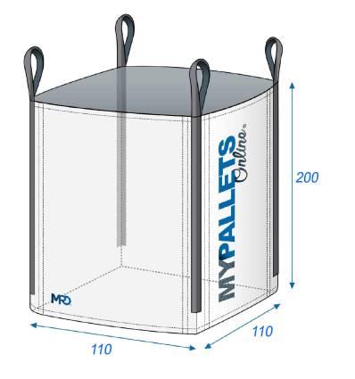 Big Bag sac chantier 1,5 Tonnes 110X110X200 1500 kg