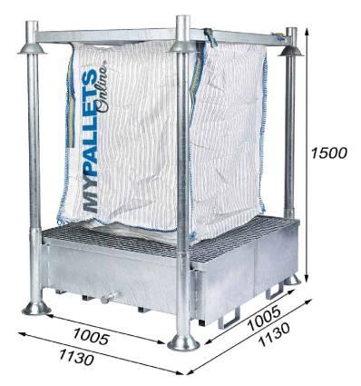 Porta Big Bag con vasca di recupero Altezza 1655mm