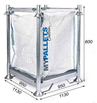 Soporte para mini BigBags con rejilla de filtración Dimensiones 1130X1130X600