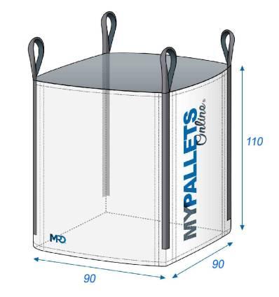 Big Bag 90X90X110-1500kg-Ouverture Totale-Fond Plat Fermé