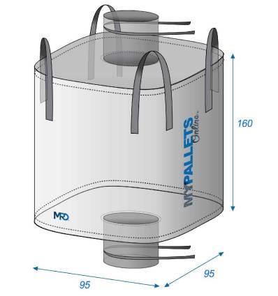 Big Bag Alimentare 1500 litri Impermeabile 95X95X160 1500 kg