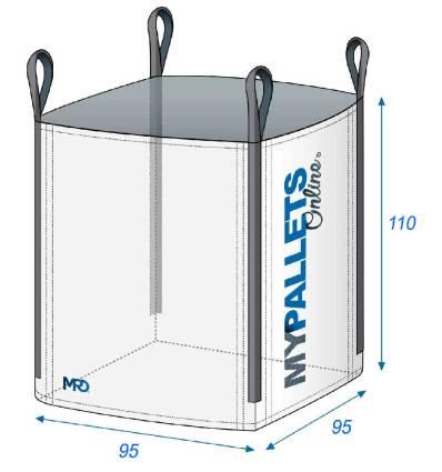 Big Bag Leer für Holz 95X95X110 1000 kg