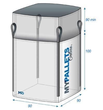 BigBags Vacío para residuos de jardín 90X90X100 1500 kg