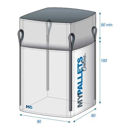 Big Bag déchets volumineux 90X90X180 1250kg Jupe Remplissage-Fond Plat Fermé
