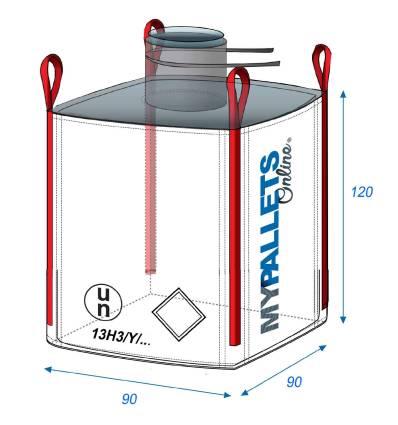 Big Bag Poudres et produits dangereux 90X90X120-1500kg ONU 13H3Y Goulotte Remplissage 45 X 50