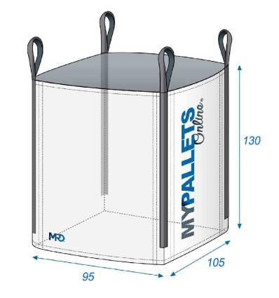 Big Bag 95X105X105-1250kg-Ouverture Totale-Fond Plat Fermé