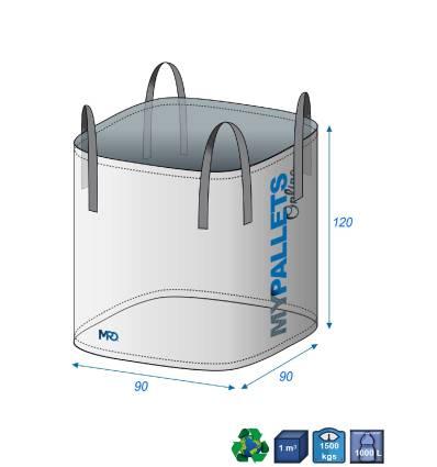 Big Bag 90X9090-1500kg-Ouverture Totale-Fond Plat Fermé