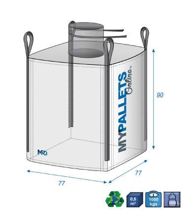Big Bag Laminato 100% impermeabile da 500 litri 77X77X90 1000 kg