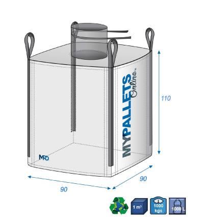 Big Bag Laminé avec couture étanches 900 litres 90X90X110 1000 kg