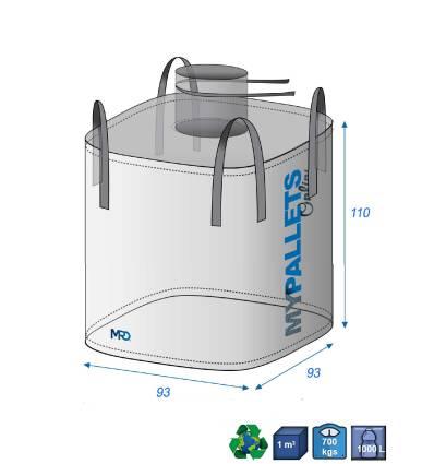 Big Bag Zugelassen für Lebensmittel 950 Liter 93X93X110 700 kg