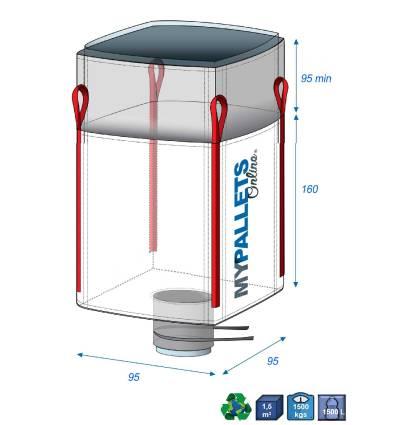Big Bag Recyclage du verre + Doublure 70µ 95X95X160 1500 kg